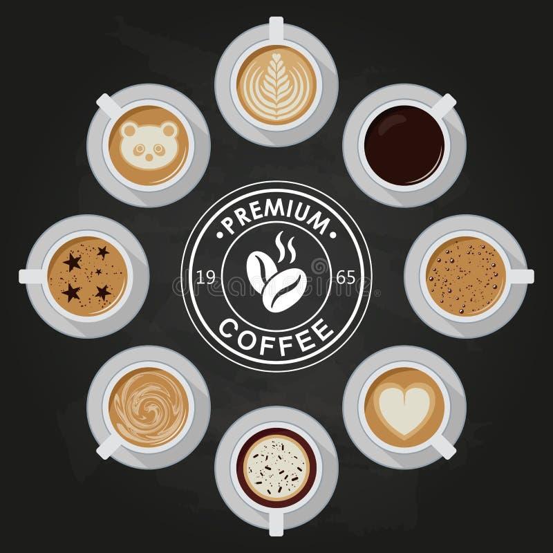 De koppen van de premiekoffie, americano, latte, espresso, cappuccino, macchiato, mocha, kunst, tekeningen op koffiecrema, mening vector illustratie