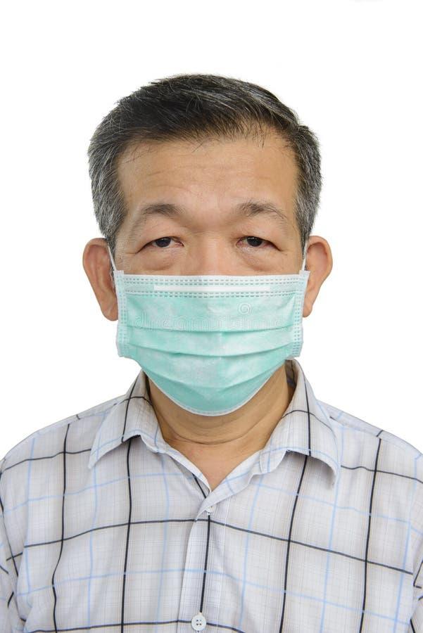 De Koreaanse volwassene draagt een beschermend masker stock afbeelding