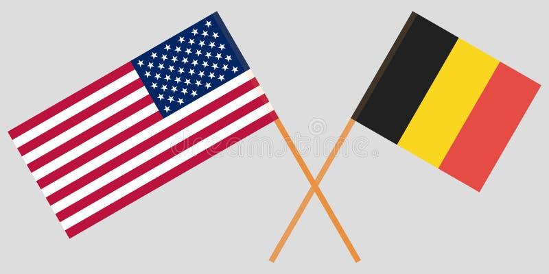 De korsade Belgien och USA flaggorna royaltyfri illustrationer
