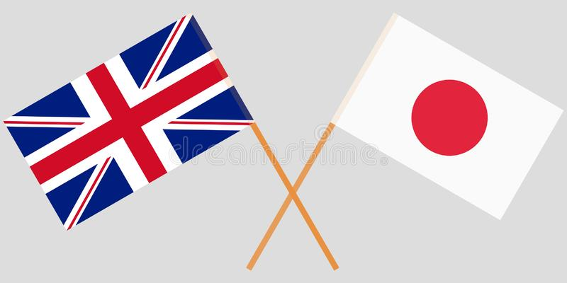 De korsade Japan och UK-flaggorna Officiella färger vektor stock illustrationer