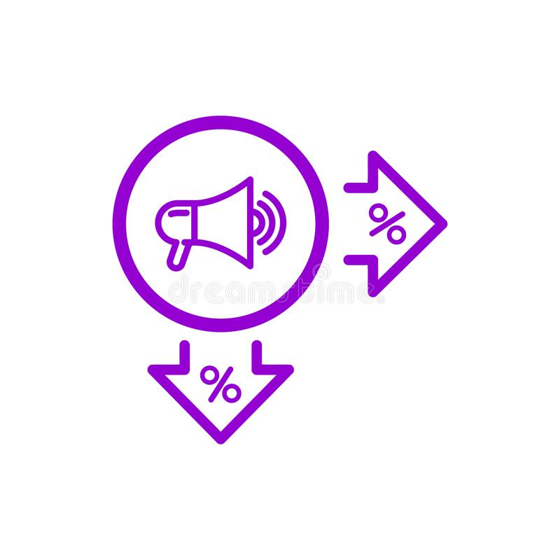 De korting, prijs, verkoop voorziet, het winkelen, donker violet de kleurenpictogram van de bedrijfsproductkorting stock illustratie