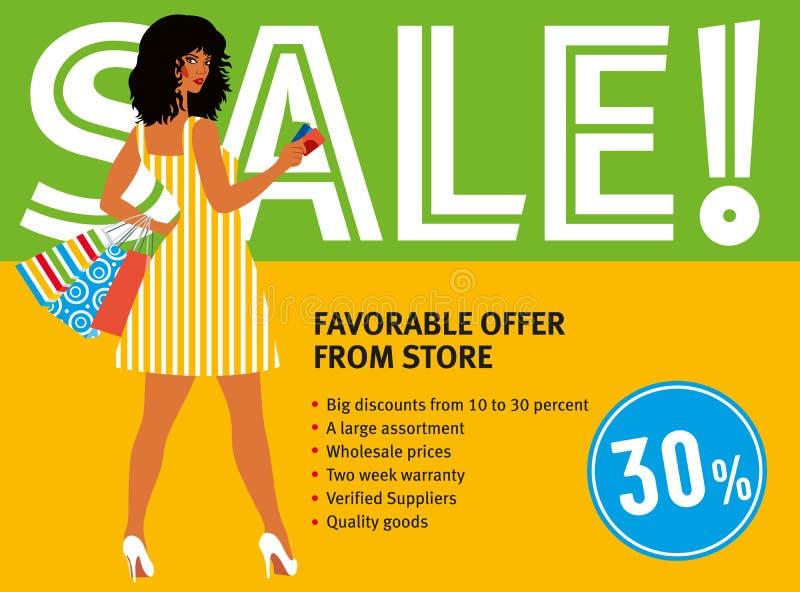 De kortingen van de verkooplay-out Meisje in retro kleding met het winkelen zakken stock illustratie