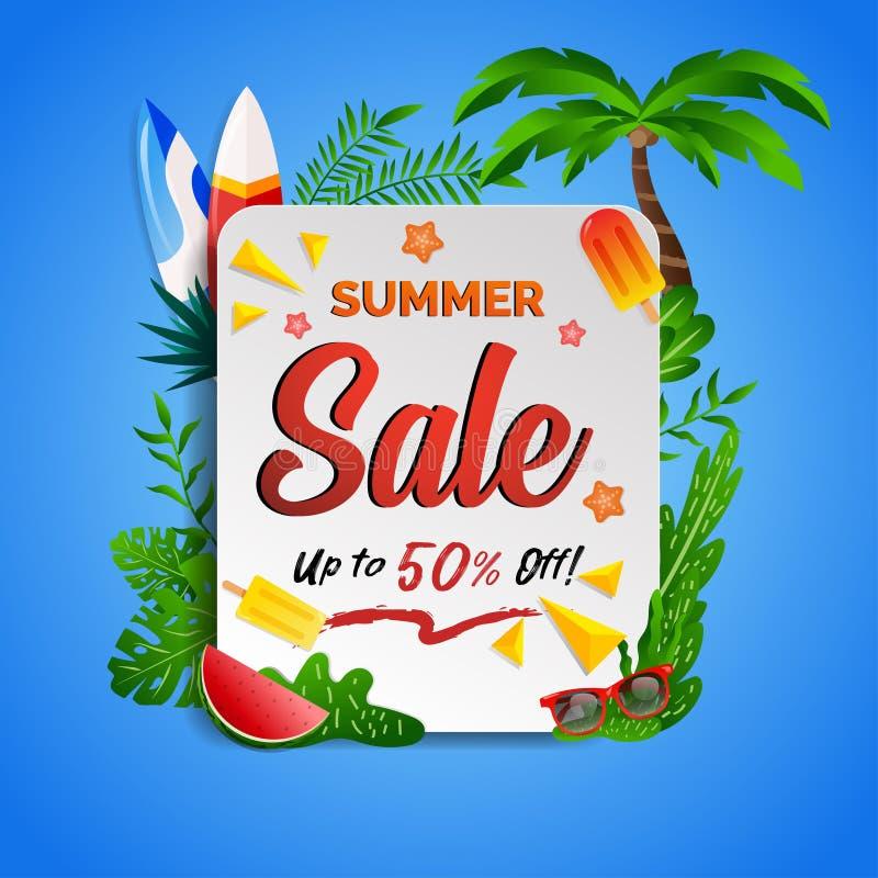 De kortings tropisch strand van de de zomerverkoop met kokospalm, surfende raad voor vlieger, banner, brochure en promotiemedia vector illustratie