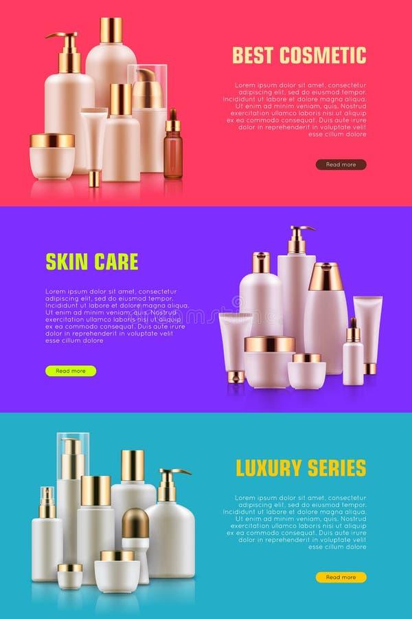 De kosmetische banner van het flessenmodel vector illustratie