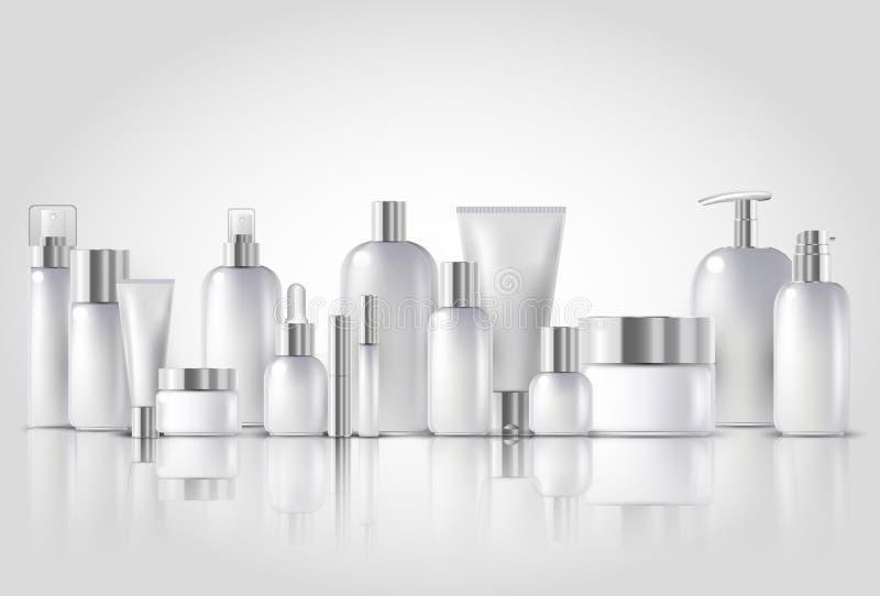 De kosmetische flessenspot zette pakketten op witte achtergrond op vector illustratie