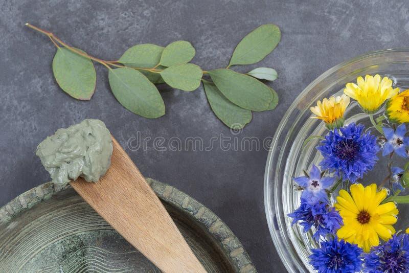De kosmetische klei en de bloem in glas werpen en tak van eucalyptus, voor kuuroordbehandelingen, in ceramische plaatmodder op ho royalty-vrije stock foto's