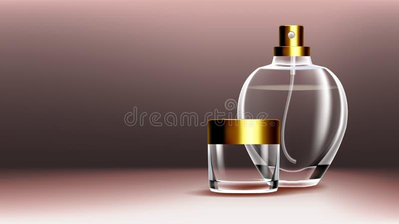 De kosmetische Vector van de Glasbanner Premiekruik Medische Vochtinbrengende crème Luxe, manier Fles kruik 3D Geïsoleerde Transp vector illustratie