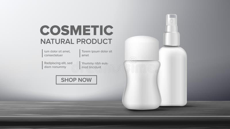 De kosmetische Vector van het Flessenpakket Schoonheid Bckground Kruikspatie Glanzend, Helder Maak, het Gloeien schoon 3D Realist vector illustratie