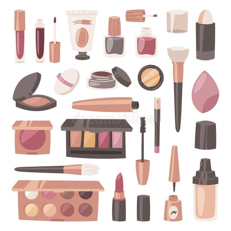 De kosmetische vectorschoonheid maakt omhoog de kosmetiek voor mooie vrouw met het poeder van de make-upstichting of oogschaduwil vector illustratie