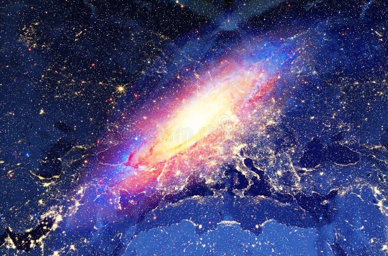 De kosmische melkweg en Aardelichten van de stadsnacht, kleuren kosmische abstracte achtergrond stock illustratie