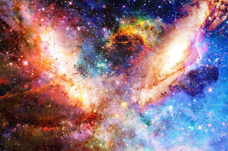 De kosmische melkweg en de sterren, kleuren kosmische abstracte achtergrond vector illustratie