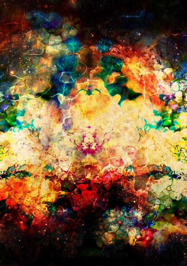 De kosmische ruimte en de sterren, kleuren kosmische abstracte achtergrond Brand en ritseleneffect vector illustratie