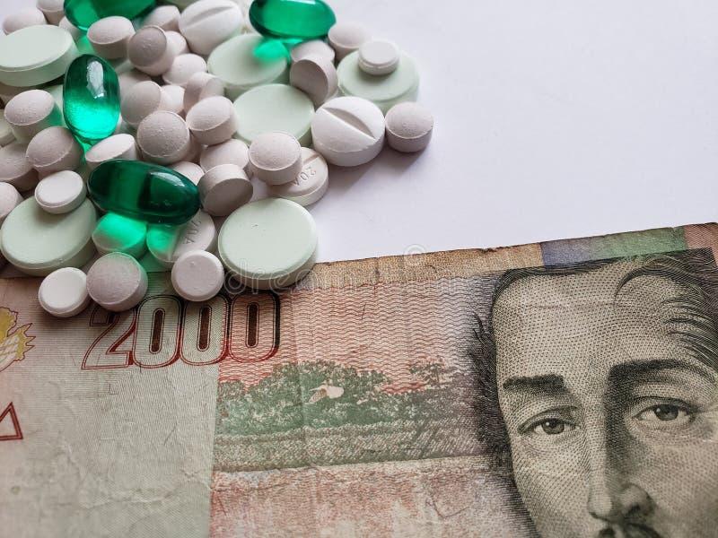 de kosten van geneeskunde, een verscheidenheid van geneesmiddelen en Columbiaans bankbiljet, achtergrond en textuur royalty-vrije stock afbeeldingen