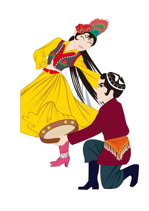 De kostuums en de volksdouane van Chinese nationaal vector illustratie