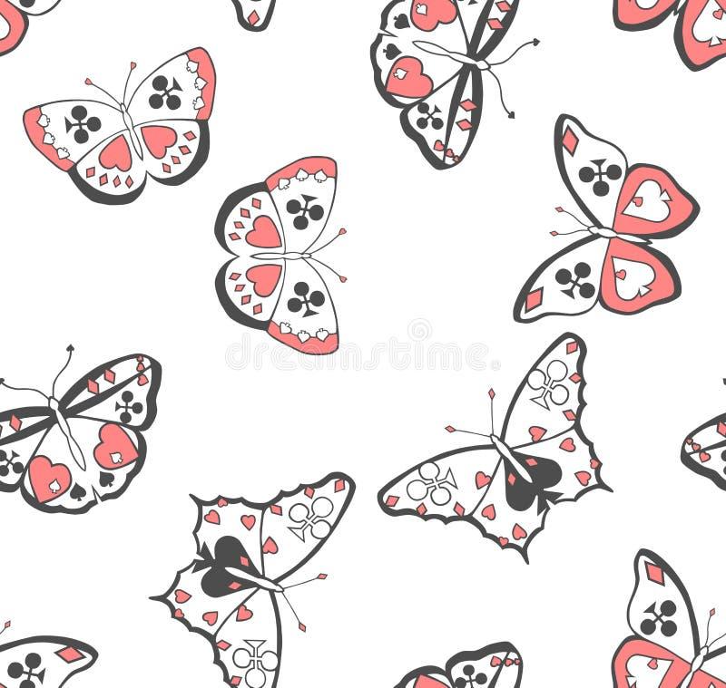 De kostuums naadloos patroon van vlinders royalty-vrije illustratie