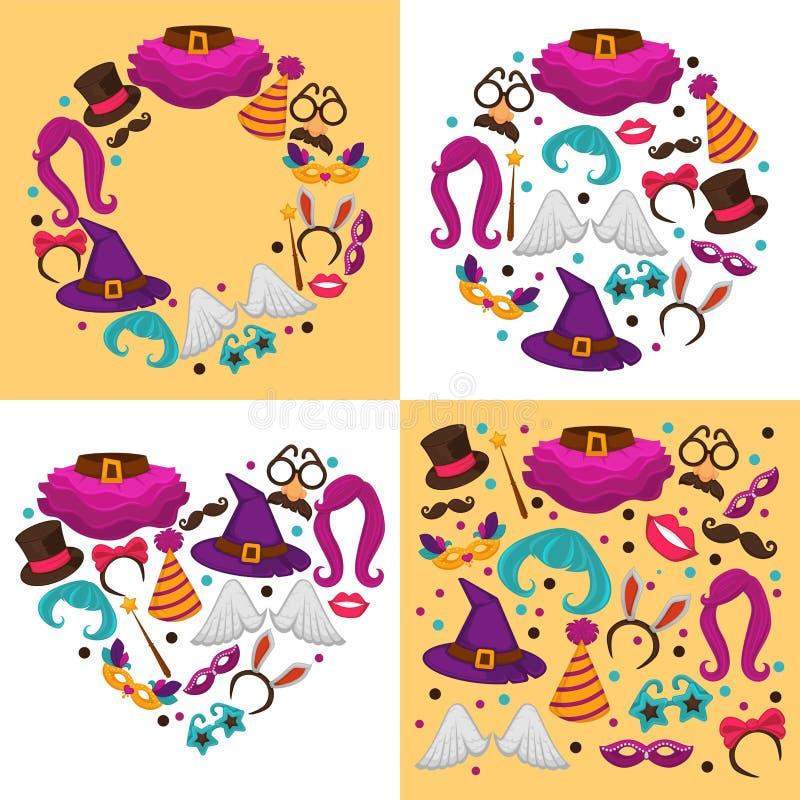 De kostuums van Carnaval of Halloween-kleding en kledingstukken feestelijk decor stock illustratie