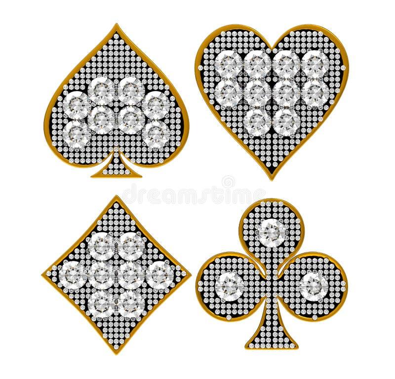 De Kostuums van de Kaart van de diamant met gouden frame vector illustratie