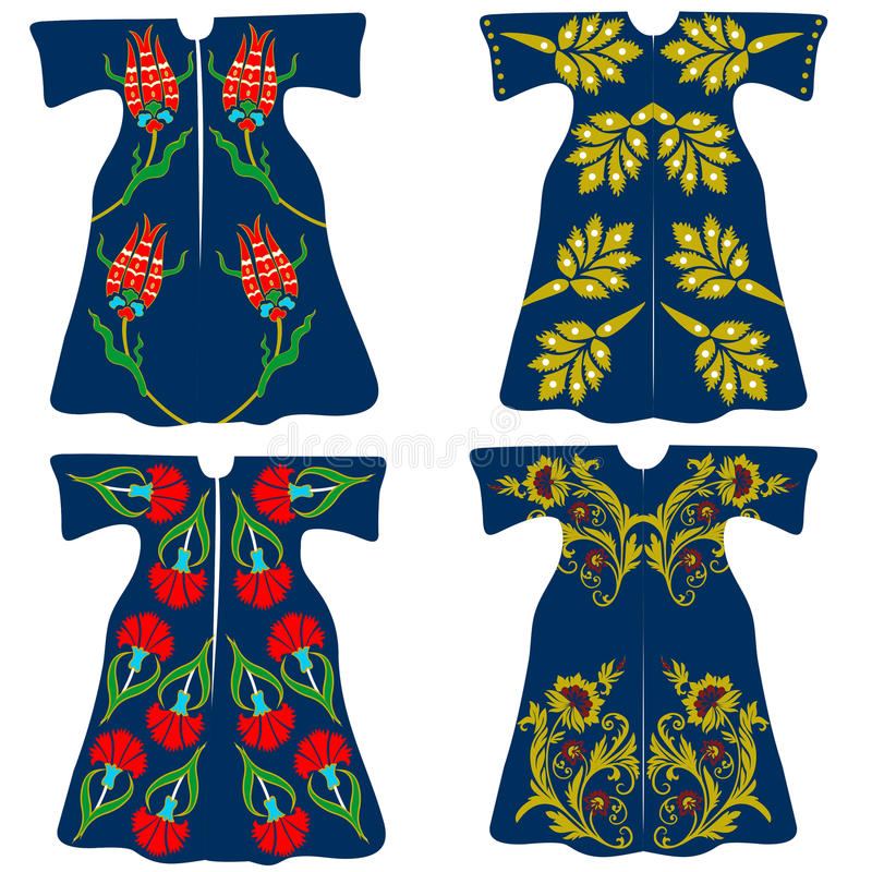De kostuums van de ottomanesultan, klassieke ottomanekaftannen royalty-vrije illustratie