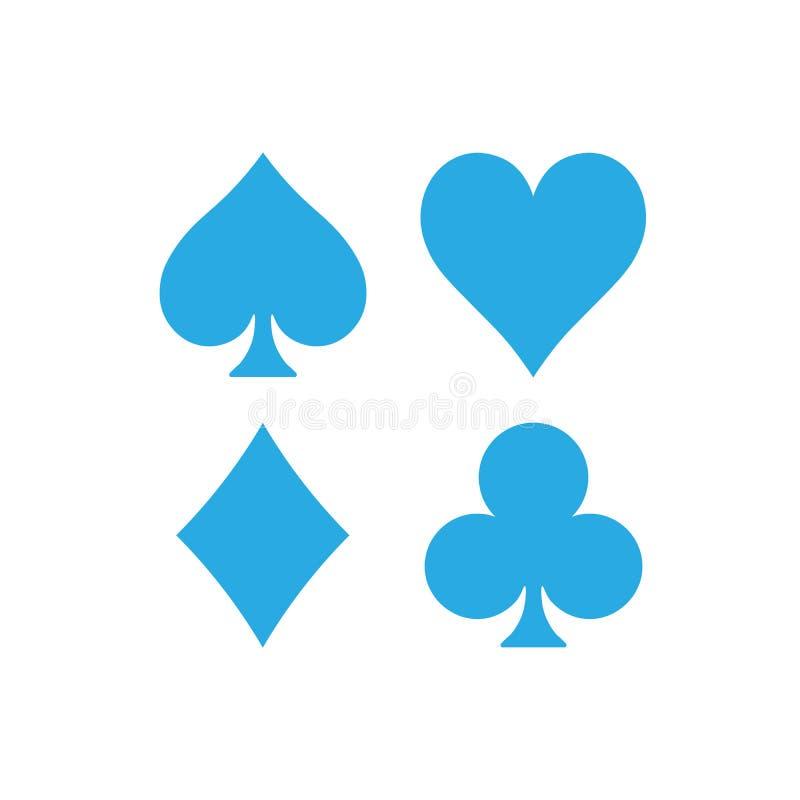 De kostuums van de pookkaart - harten, clubs, spades en diamanten Casino het gokken thema vectorillustratie Eenvoudige vormen in  stock illustratie