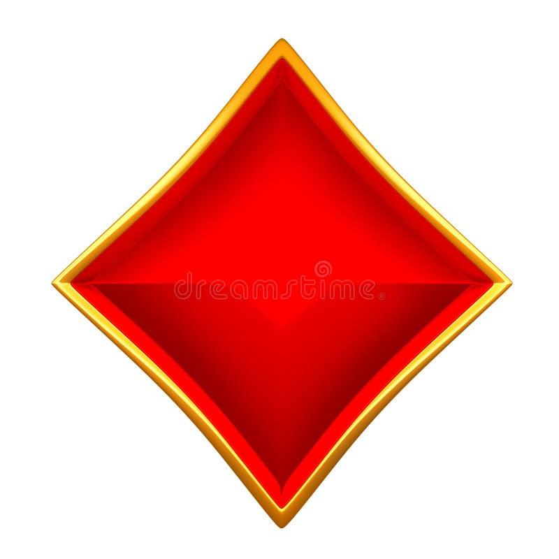 De kostuums van de diamantenkaart met het gouden geïsoleerd ontwerpen royalty-vrije illustratie