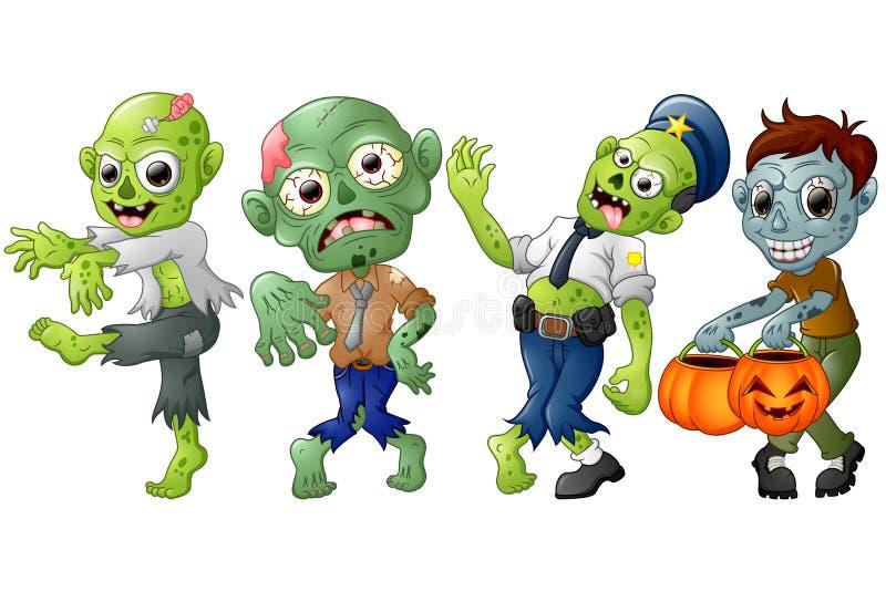 De kostuums van Halloween van het zombiebeeldverhaal royalty-vrije illustratie