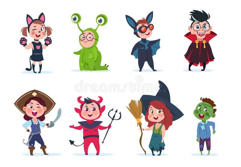 De kostuums van jonge geitjeshalloween Beeldverhaal leuke baby bij Halloween-partij De vectorkarakters van het festivalbeeldverha royalty-vrije illustratie