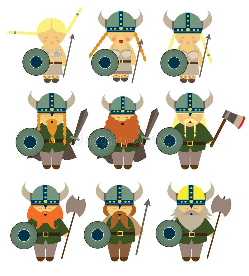 De kostuums van Vikingen voor kleine jonge geitjes die scandinava leren royalty-vrije illustratie