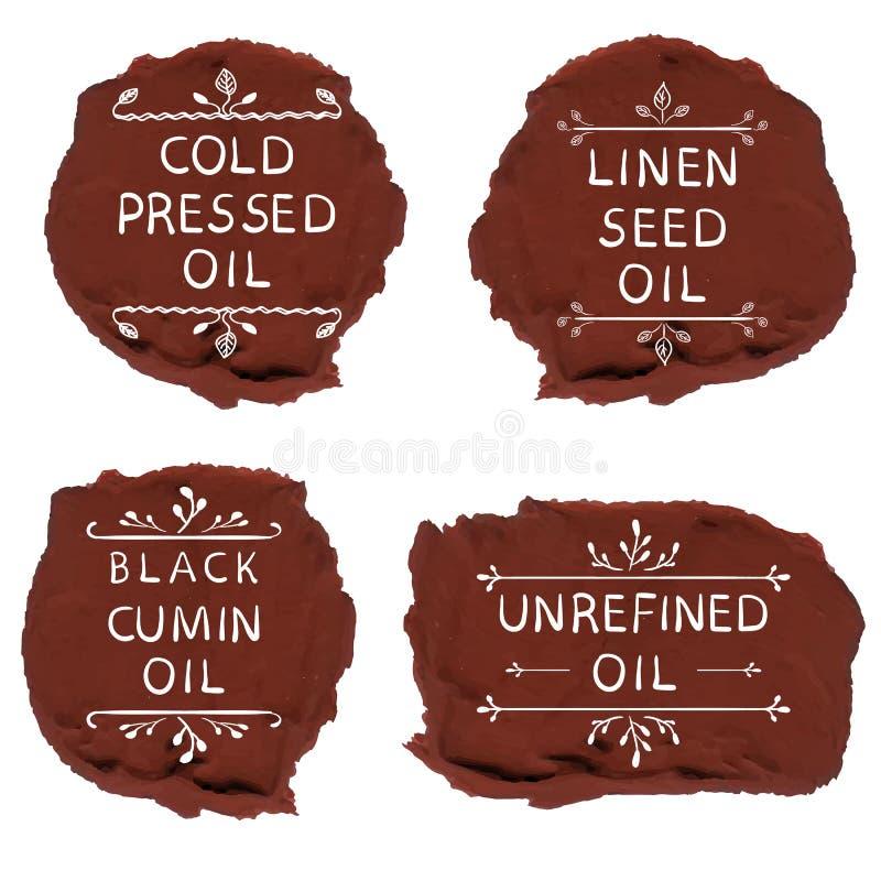 ` De koud geperste van de het zaadolie ` ` van het olie` linnen van de de komijnolie ` ` zwarte ongeraffineerde olie ` Hand getro vector illustratie