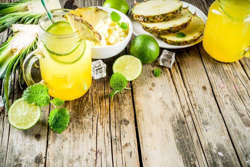 De koude cocktail van ananasmojito royalty-vrije stock foto's