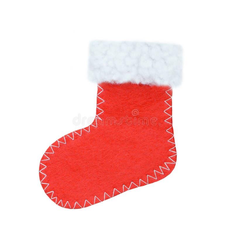 De kous van Kerstmis die op wit wordt geïsoleerdc stock afbeelding