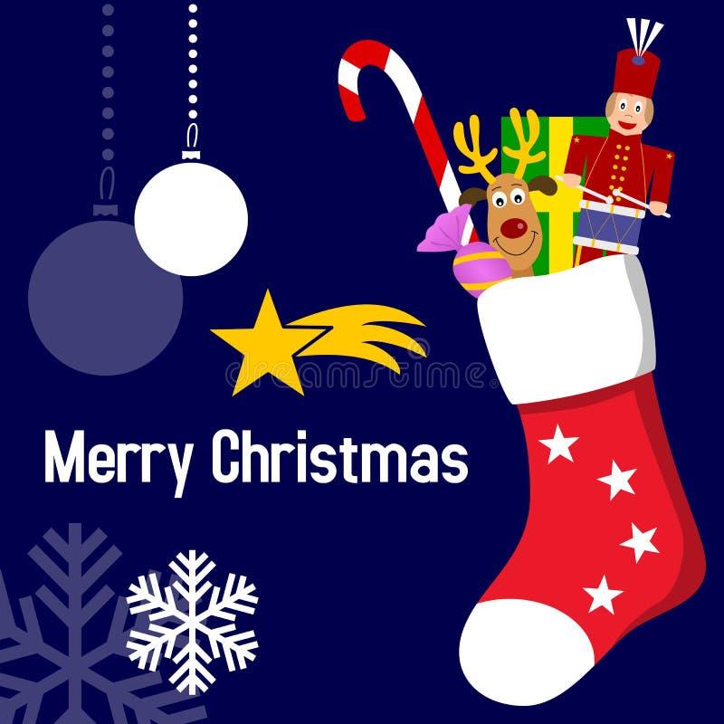 De Kous van Kerstmis met Giften royalty-vrije illustratie