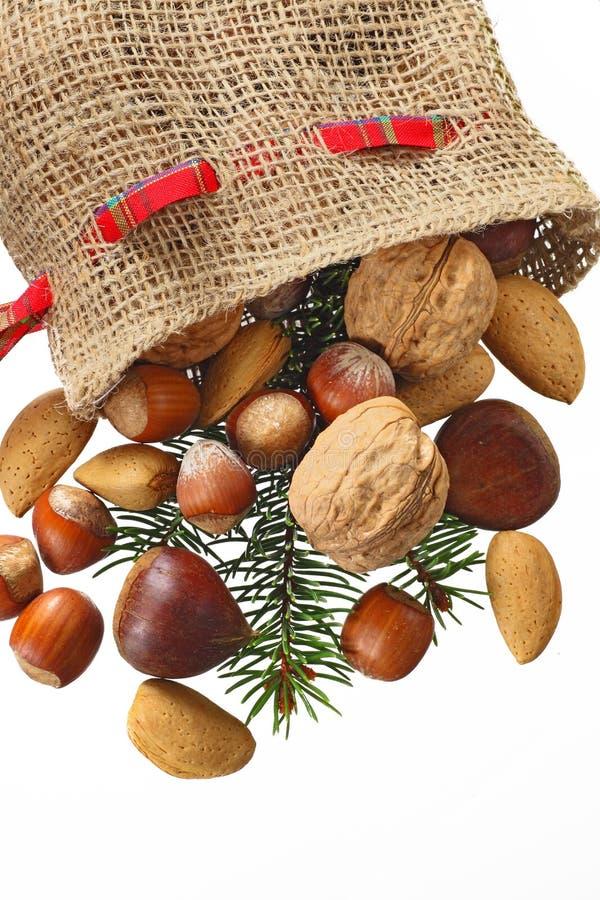 De Kous van Kerstmis met noten royalty-vrije stock foto
