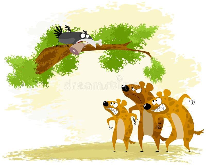 De kraai plaagt hyena royalty-vrije illustratie
