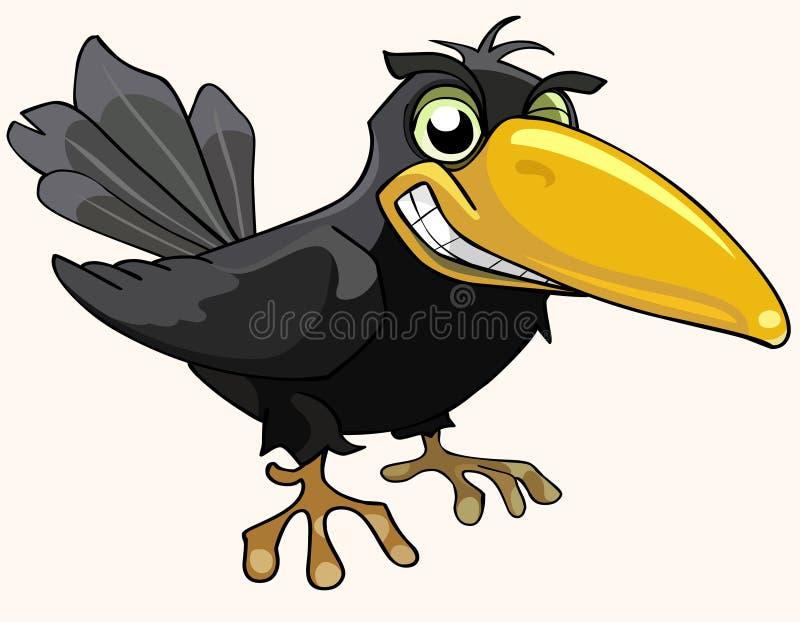De kraai van de beeldverhaal het boze vogel glimlachen royalty-vrije illustratie