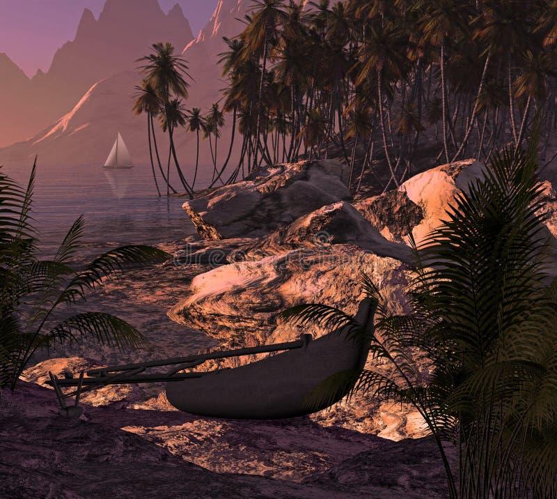 De Kraanbalk en de Zeilboot van het eiland stock fotografie