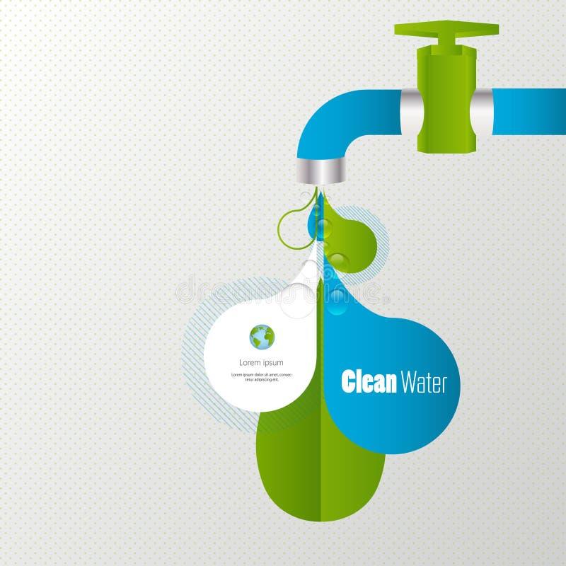 De kraaninfographics van het Ecowater royalty-vrije illustratie