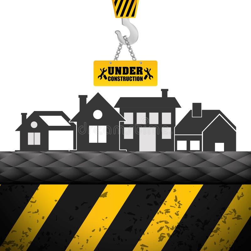 de kraanteken van het de bouw in aanbouw huis vector illustratie