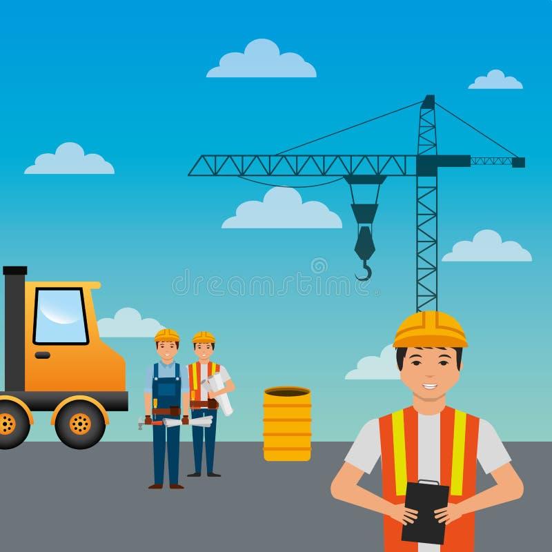 De kraanvat van de bouwvakkersvrachtwagen en hemelachtergrond vector illustratie