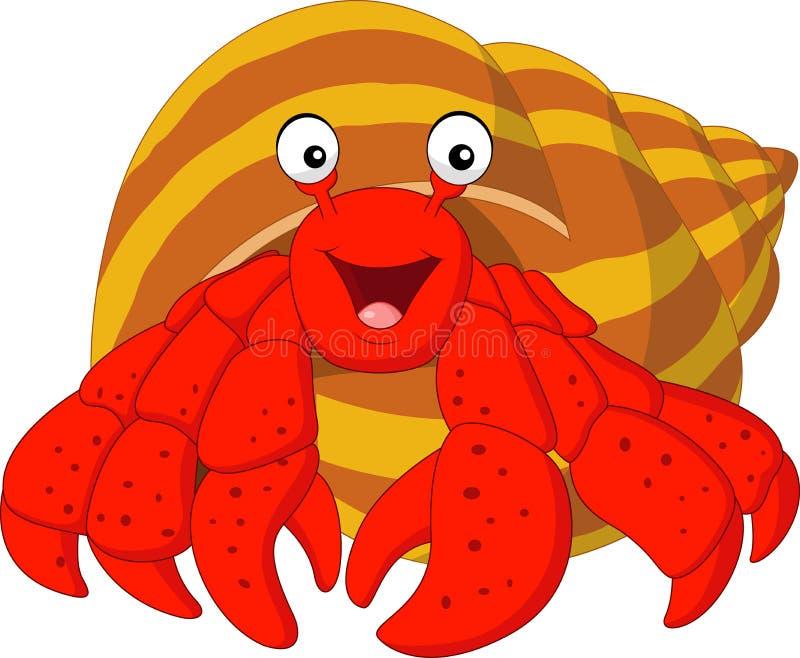 De krab van de beeldverhaalkluizenaar vector illustratie