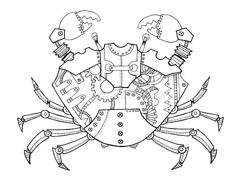 De krab van de Steampunkstijl het kleuren boekvector vector illustratie