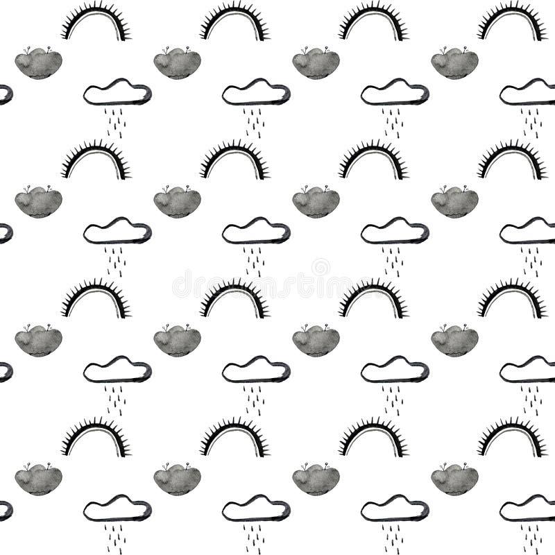 De krabbel betrekt patroon Hand getrokken naadloze achtergrond met wolken en sterren in grijs en wintertaling r royalty-vrije illustratie