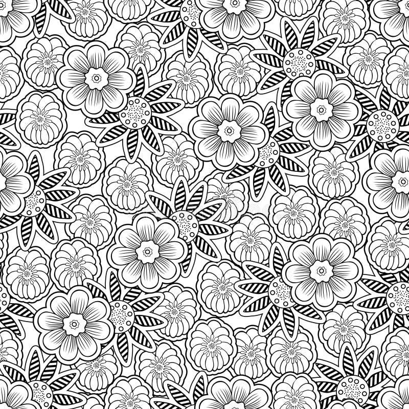 De krabbel bloeit naadloos patroon, lineaire overzichts bloemenachtergrond, het kleuren Zwart-witte zwart-wit de handtekening van stock illustratie