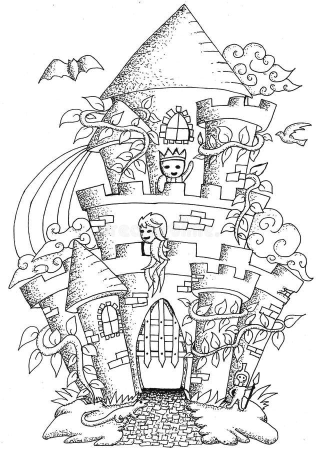 De krabbel Castilla van de sprookjestad stock illustratie