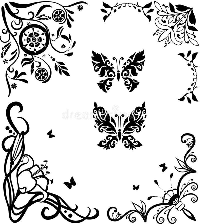 De krabbel graseful reeks van de hoek met vlinders vector illustratie