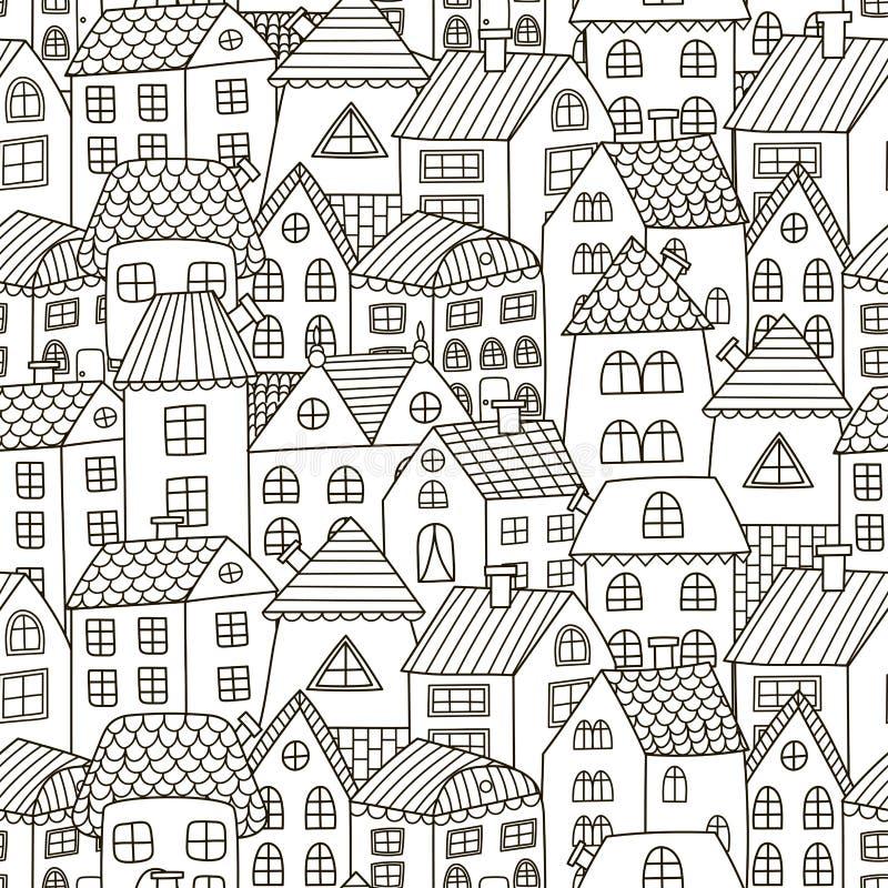 De krabbel huisvest naadloos patroon Zwart-witte stadsachtergrond stock foto's