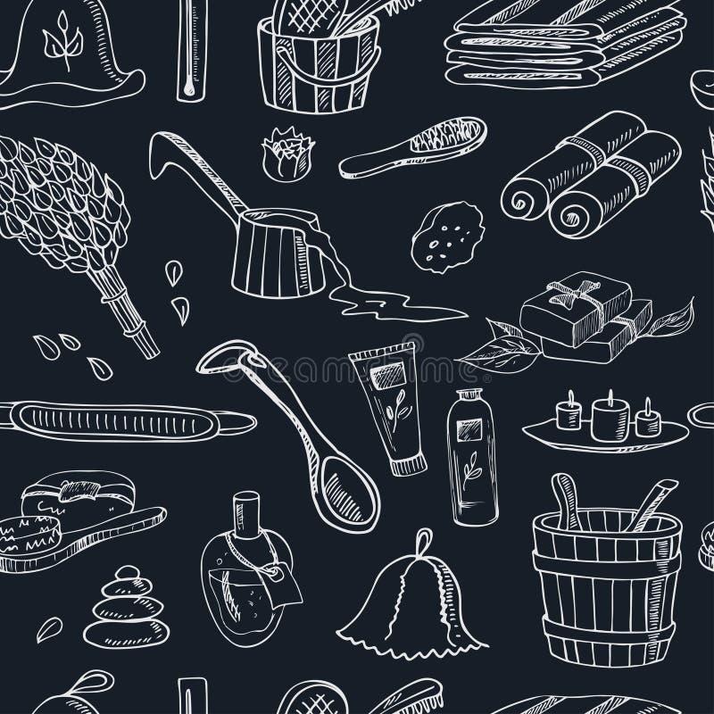 De krabbel naadloos patroon van saunatoebehoren schets royalty-vrije illustratie