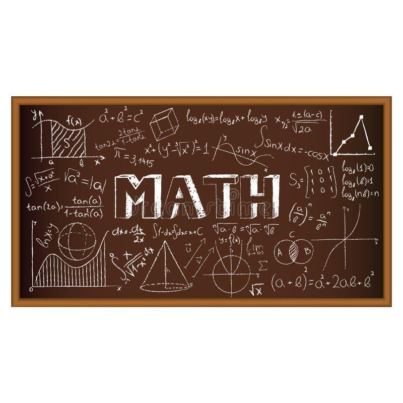 De krabbel van de schoolraad met formules en grafieken  vector illustratie