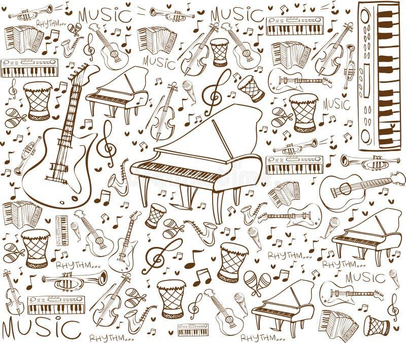 De Krabbel van muziekinstrumenten stock illustratie