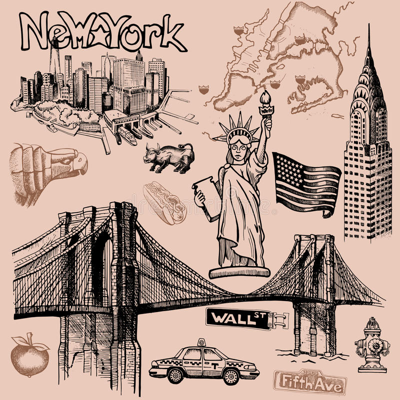 De krabbel van New York uit de vrije hand vector illustratie