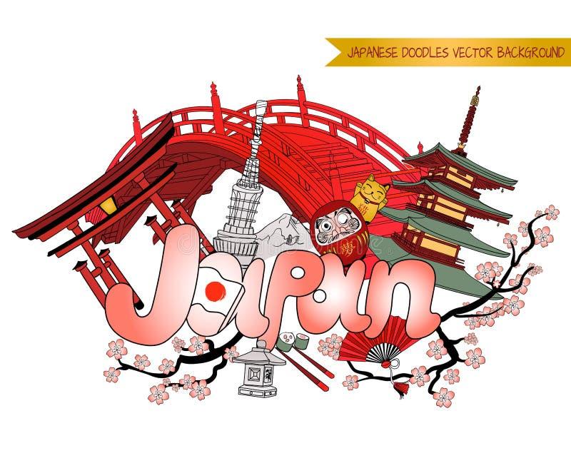 De krabbelachtergrond van JAPAN, VECTOR gekleurde illustratie royalty-vrije illustratie